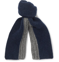 Loro Piana Denver Two-Tone Ribbed Cashmere Scarf
