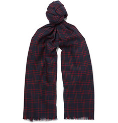 Loro Piana Windowpane-Checked Virgin Wool Scarf