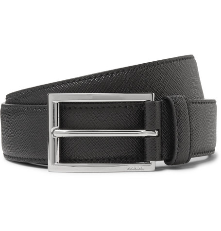 3cm Black Saffiano Leather Belt by Prada