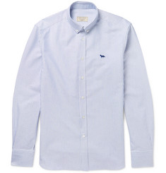 Maison Kitsuné Button-Down Collar Striped Cotton Oxford Shirt