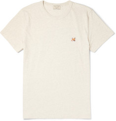 Maison Kitsuné Slim-Fit Fox-Embroidered Mélange Cotton-Jersey T-Shirt