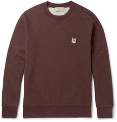 Maison Kitsuné Appliquéd Mélange Fleece-Back Cotton-Jersey Sweatshirt
