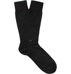Ermenegildo Zegna - Pin-Dot Mercerised Stretch Cotton-Blend Socks