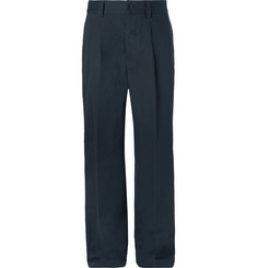 Margaret Howell Wide-Leg Pleated Cotton and Linen-Blend Twill Trousers