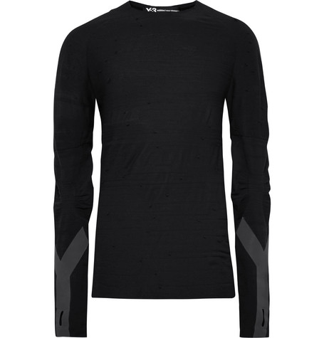 Slim Fit Reflective Trimmed Textured Wool Blend T Shirt by Y 3