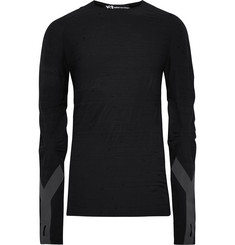 Y-3 Slim-Fit Reflective-Trimmed Textured Wool-Blend T-Shirt