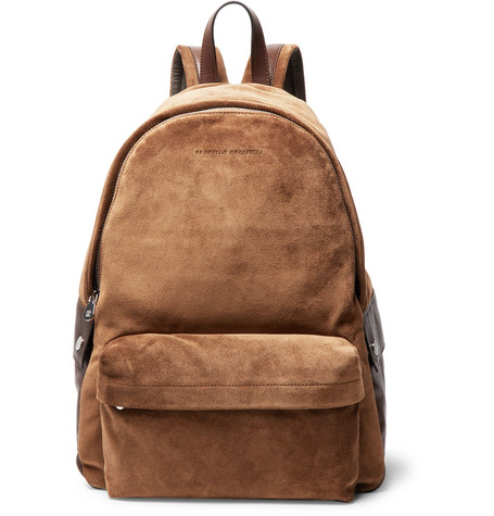 Brunello Cucinelli - Leather-Trimmed Suede Backpack - Tan
