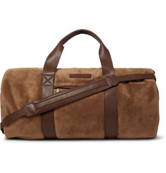 Brunello Cucinelli Leather-Trimmed Suede Duffle Bag