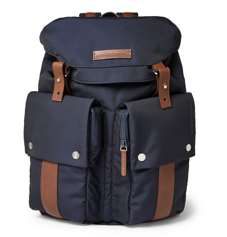 Brunello Cucinelli - Leather-Trimmed Shell Backpack - Navy