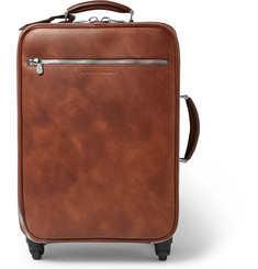 Brunello Cucinelli Burnished-Leather Trolley Case