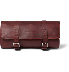 Brunello Cucinelli Burnished-Leather Hanging Wash Bag