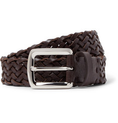 Brunello Cucinelli 3.5cm Brown Woven Cross-Grain Leather Belt