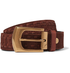 Brunello Cucinelli 4cm Brown Leather-Trimmed Suede Belt