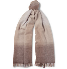 Brunello Cucinelli Fringed Dégradé Wool and Cashmere-Blend Scarf