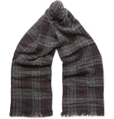 Brunello Cucinelli Fringed Checked Cashmere-Blend Scarf