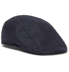 Brunello Cucinelli Leather-Trimmed Mélange Wool Flat Cap
