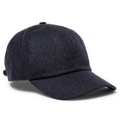 Brunello Cucinelli - Leather-Trimmed Mélange Wool Baseball Cap