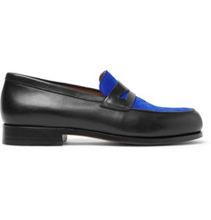 Maison Kitsuné Suede-Panelled Leather Penny Loafers