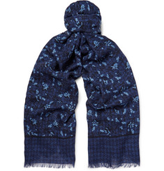 Isaia Printed Cashmere and Wool-Blend Twill Scarf