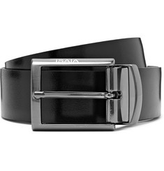 Isaia 3.5cm Black and Brown Reversible Leather Belt