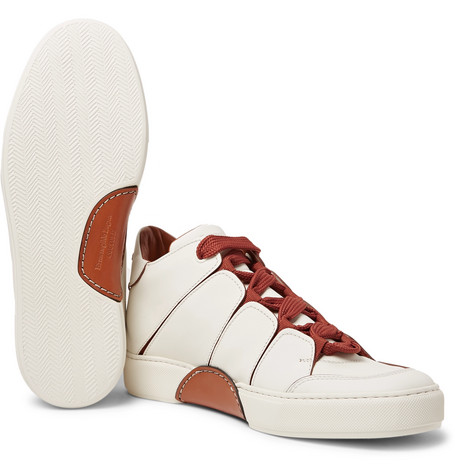 Tiziano Panelled Leather High Top Sneakers by Ermenegildo Zegna