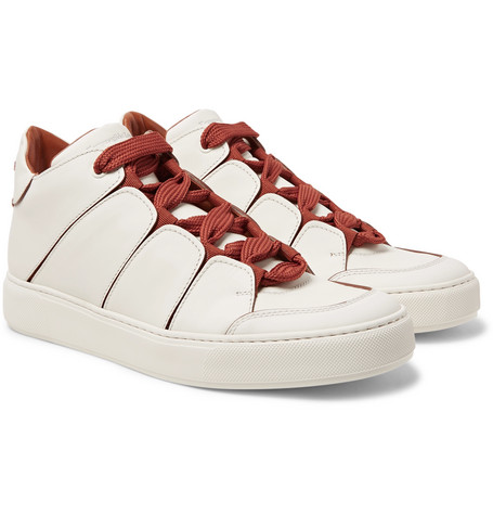 Tiziano Panelled Leather High-top Sneakers - Off-white