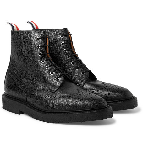 Pebble-grain Leather Wingtip Brogue Boots - Black