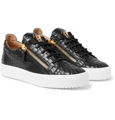 Giuseppe Zanotti - Logoball Croc-Effect Leather Sneakers