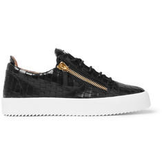 Giuseppe Zanotti Logoball Croc-Effect Leather Sneakers