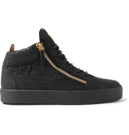 1eded3da7fe3f Giuseppe Zanotti Logoball Croc-Effect Leather High-Top Sneakers In Black