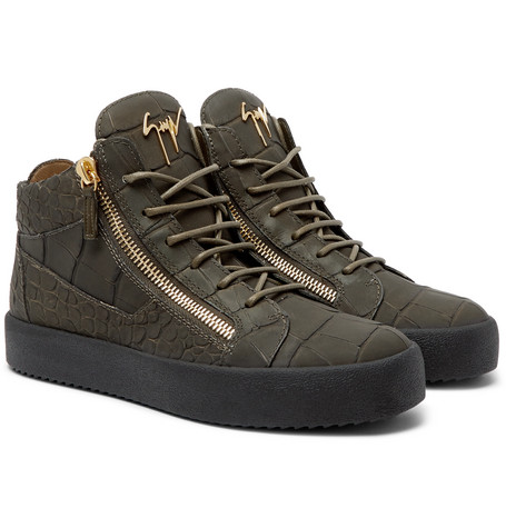 Logoball Croc-effect Leather High-top Sneakers - Green