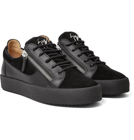 Logoball Leather And Suede Sneakers - Black