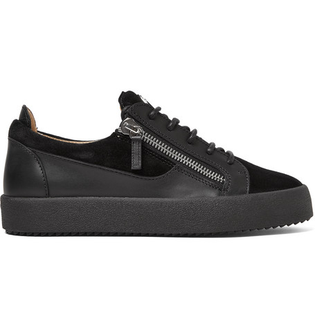 Giuseppe Zanotti Leathers LOGOBALL LEATHER AND SUEDE SNEAKERS