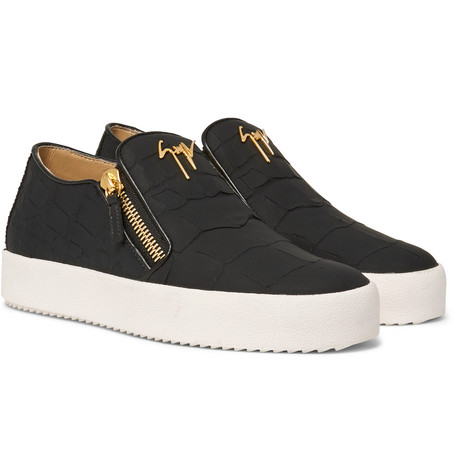 Logoball Croc-effect Leather Slip-on Sneakers - Black
