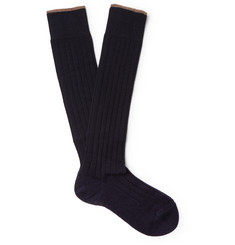 Brunello Cucinelli Contrast-Tipped Ribbed Cashmere Over-the-Calf Socks