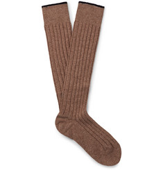 Brunello Cucinelli Mélange Cashmere Over-the-Calf Socks