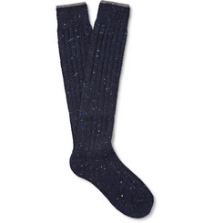 Brunello Cucinelli Mélange Virgin Wool-Blend Over-the-Calf Socks