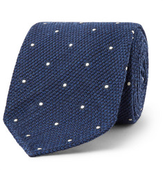 Drake's - 8cm Pin-Dot Wool and Silk-Blend Tie