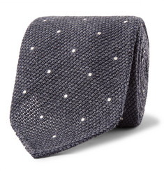 Drake's 8cm Pin-Dot Wool and Silk-Blend Tie