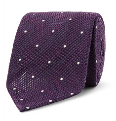 Drake's - 8cm Polka-Dot Wool and Silk-Blend Tie