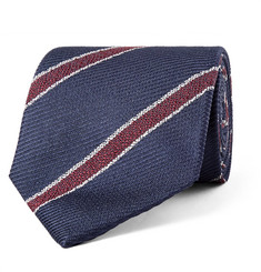 Drake's 8cm Striped Silk-Jacquard Tie