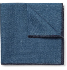 Drake's Contrast-Tipped Wool Pocket Square