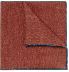 Drake's - Contrast-Tipped Wool Pocket Square