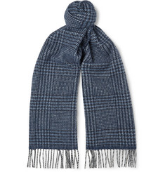 Drake's Prince of Wales Checked Wool and Angora-Blend Scarf
