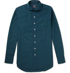 Drake's Slim-Fit Checked Cotton-Poplin Shirt