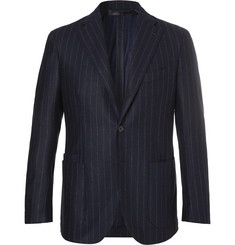 Drake's - Easyday Navy Chalkstriped Wool Suit Jacket