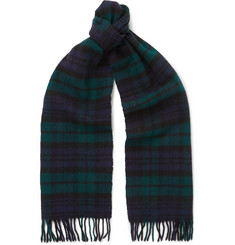Drake's Easyday Black Watch Checked Wool Scarf