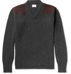 Kingsman Merlin's Suede-Panelled Ribbed Wool Sweater