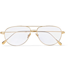 Kingsman + Cutler and Gross Statesman Aviator-Style Gold-Tone Optical Glasses