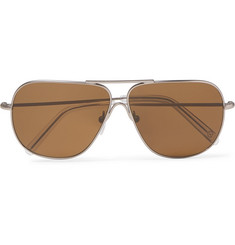 Kingsman + Cutler and Gross Statesman Aviator-Style Gunmetal-Tone Sunglasses